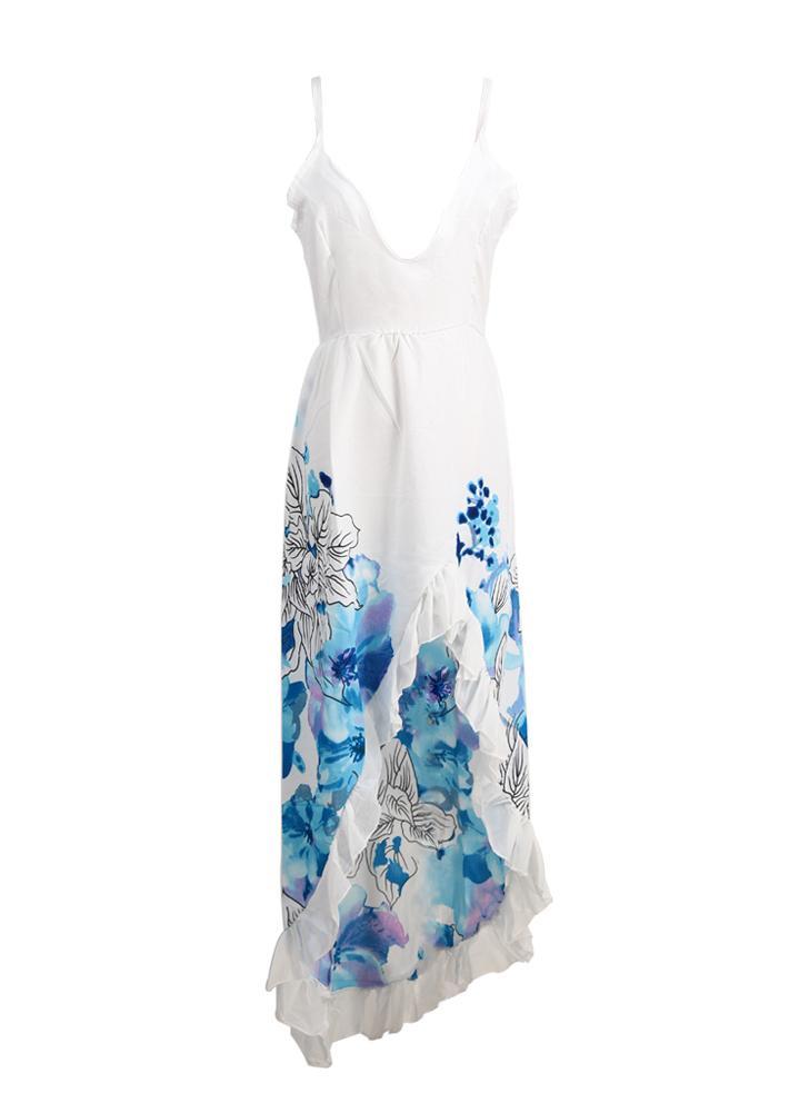 Plunge V-Neck Floral Print Asymmetrical Ruffle Hem Beach Maxi Dress
