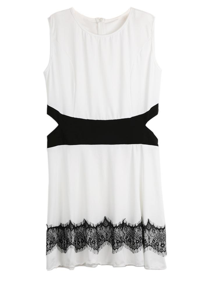 Women Sexy Lace Sleeveless O-Neck A-Line  Mini Dress