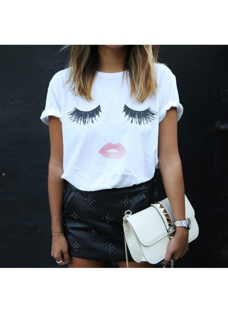 Graphic Print O-Neck Short Sleeve Plus Size White T-Shirt