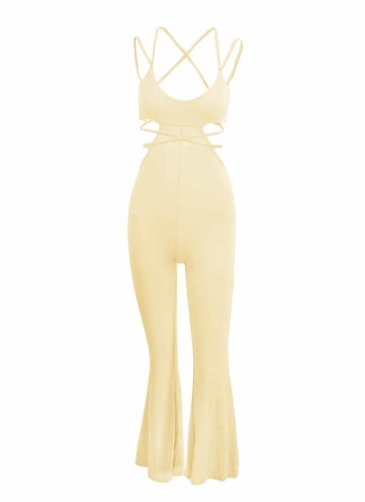 Sexy Cutout Spaghetti Strap Strappy Backless Flared Leg Jumpsuit
