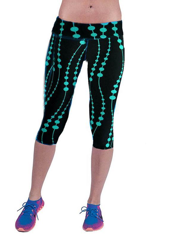 Nueva moda mujer Capri polainas cintura Floral impresión recortada pantalones de Yoga Fitness entrenamiento pantalones Casual