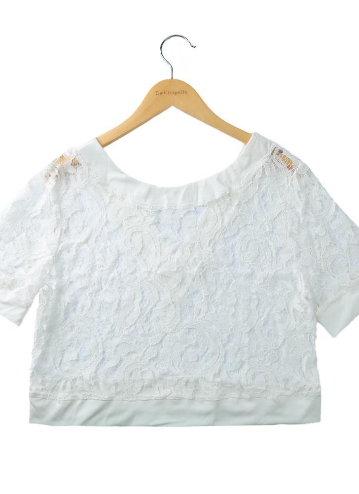 l blanco Mujeres sexy blusón de encaje hueco sin espalda manga corta ...
