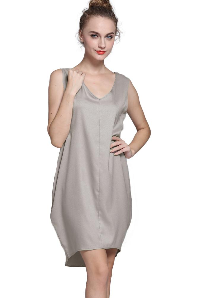 Casual V Neck High Low Hem Asymmetric Shift Tank Mini Dress