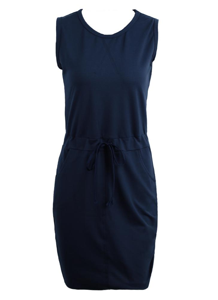 Casual Round Neck Sleeveless Sheath Solid Dress