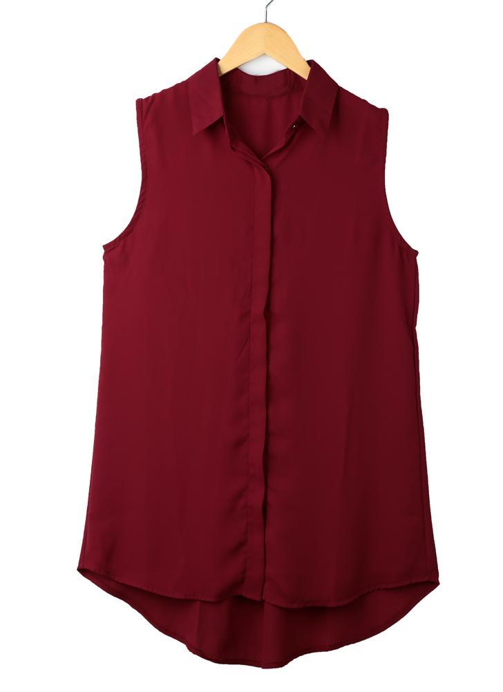 Новая мода женщин блузка без рукавов шифон асимметричный подол отложным воротником рубашки Топы Бургундии/черный