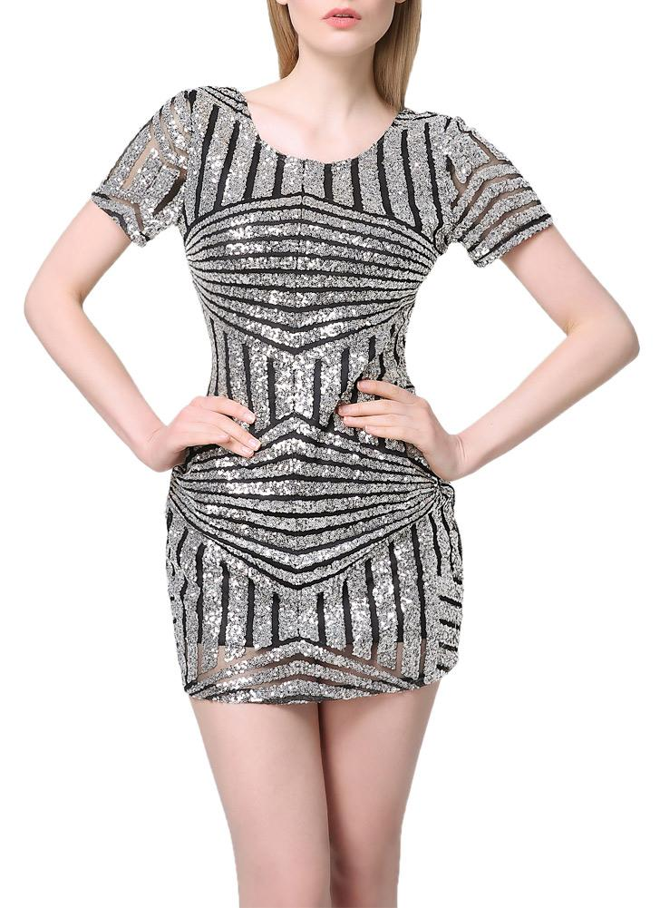 Sexy Femmes Sequin Mini Club Bodycon Dress