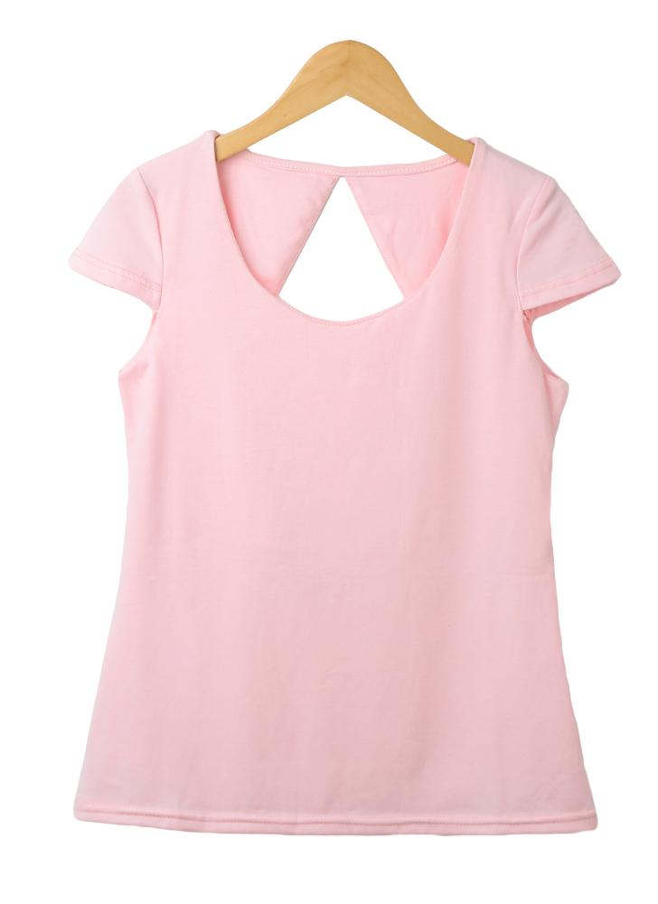 Neue Mode Frauen T-Shirt Sexy Cut-out zurück Kurzarm solide schlanke elegante Tops T-Shirt Pink