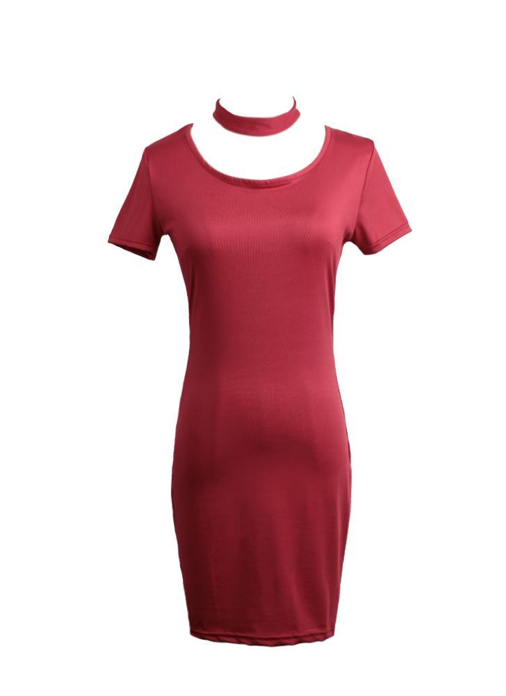 Женщин Bodycon платье мини карандаш платье Клубная одежда короткий рукав сплошной цвет оболочки платье черный/красный