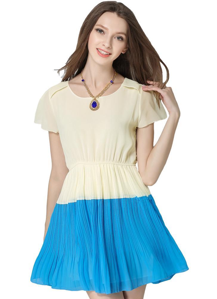 Summer Fashion Contrast Color  Short Sleeve Pleated Chiffon Dress