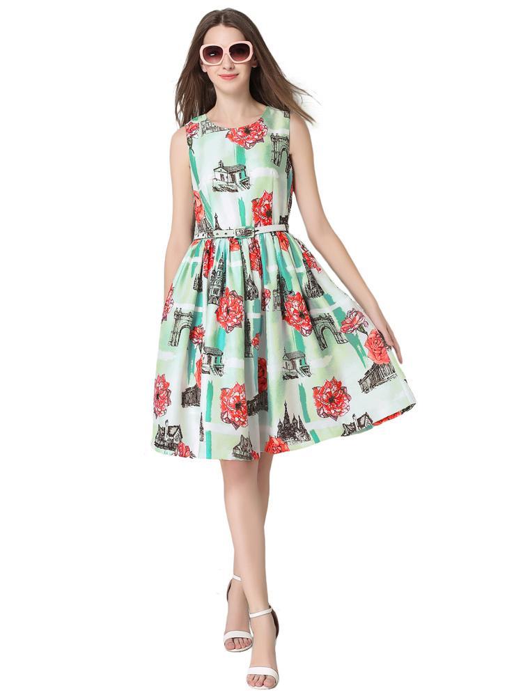 Nuove donne floreale stampa vestito fresco elegante senza maniche O-collo sottile pieghe vita con cintura verde