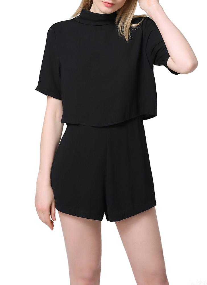 Elegant Cut Out Backless Turtleneck Short Sleeve Solid Chiffon Black Rompers