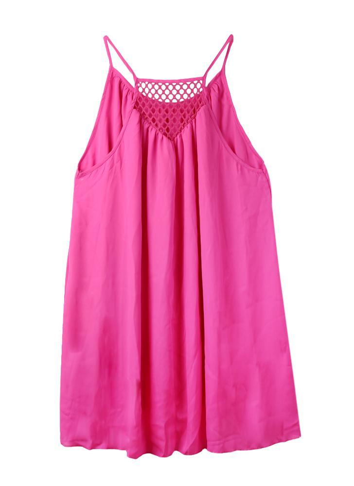 Sexy Sheer Mesh Splicing Hollow Out Spaghetti Strap Beach Chiffon Mini Dress