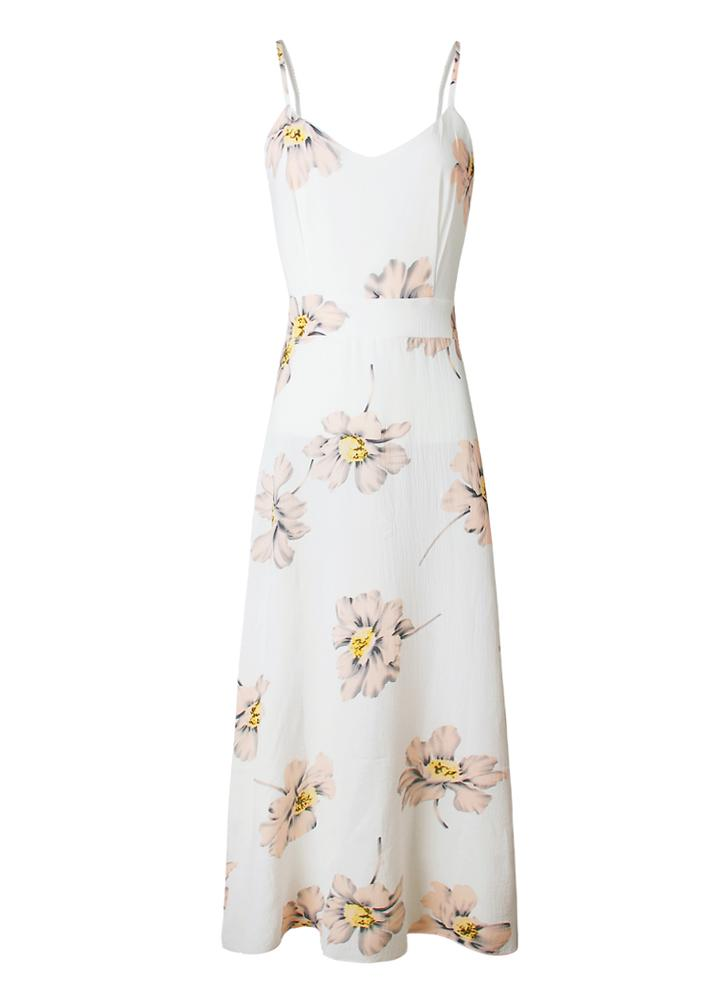 Fresh V Neck Floral Print Backless Spaghetti Strap Maxi Slip White Dress