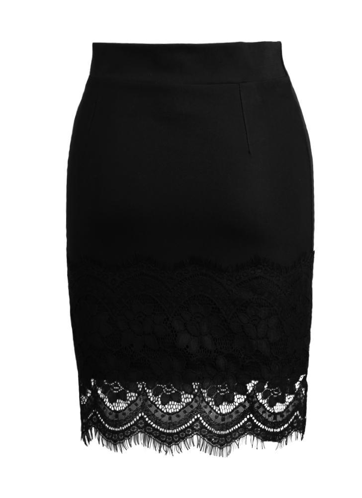 Elástico de alta cintura ahueca hacia fuera de encaje de encaje mini falda negra