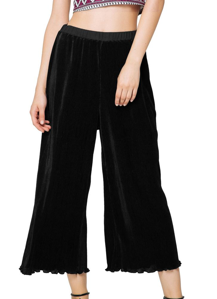 Elegant Pleated Wide Leg Elastic Waist Ruffled Hem Flared Black Pants