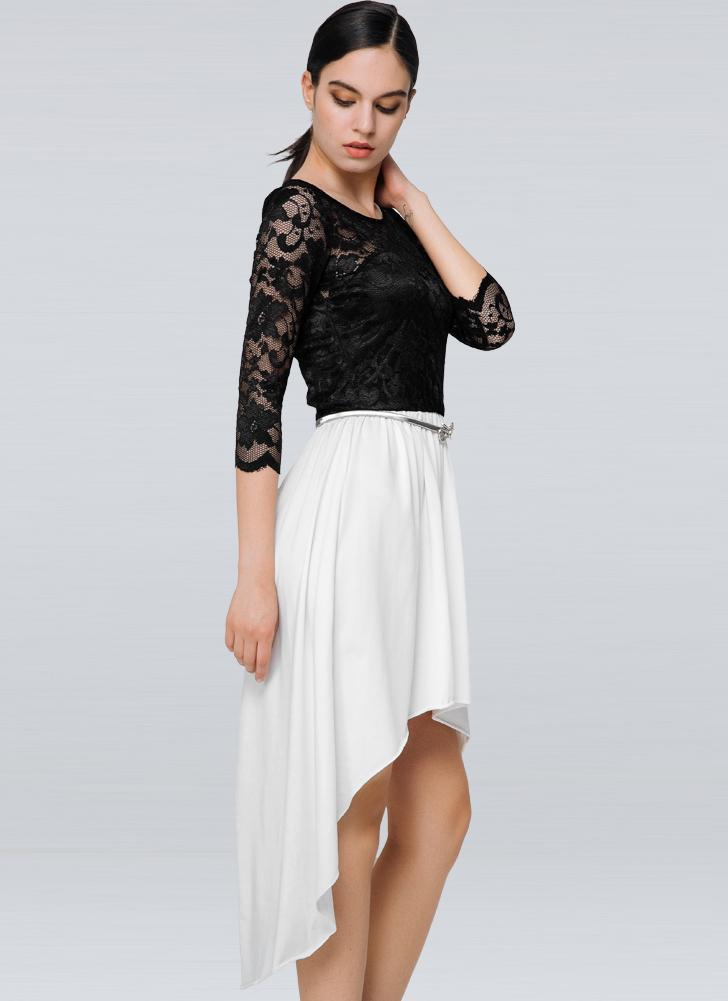 s schwarz Neue Art und Weise Frauen-Kleid mit Spitzeneinsatz ...