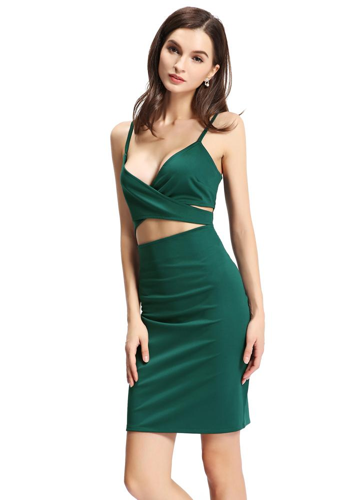 Sexy Spaghetti Strap Cut Out Deep V Neck Bodycon Mini Green Dress