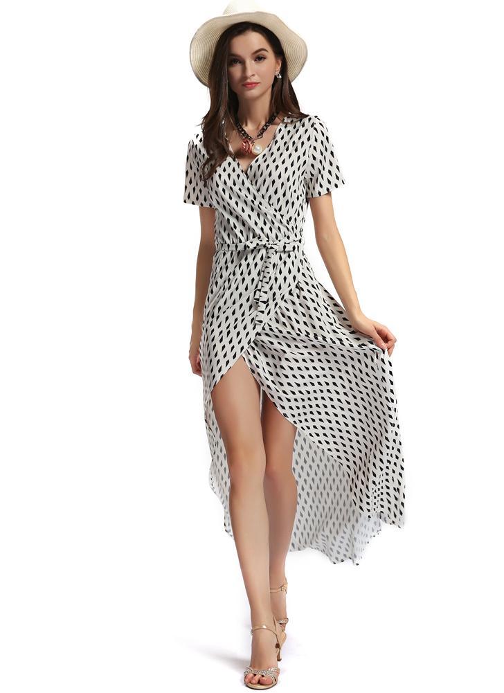 Weinlese-geometrischer Druck-asymmetrisches Saum-kurzes Hülsen-Maxi-Kleid mit Gurt