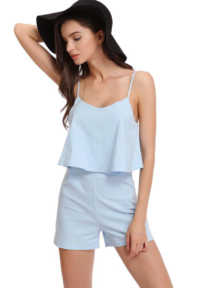Nova Moda Mulheres Jumpsuits Ruffles Open Back ajustável cintas de espaguete Zipper Elastic mangas macacãozinho Playsuit Azul