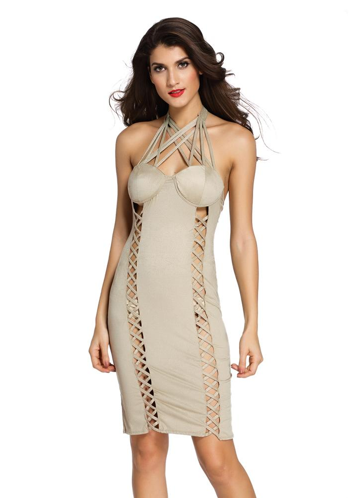 New Fashion Women Mini Dress Faux Suede Cuir rembourré Halter sans fil Cross Strappy Slim Sexy One-Piece Khaki