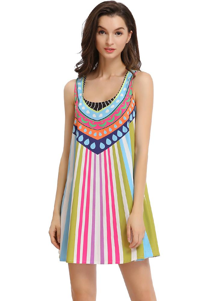 Trendy Print Boho Tank Summer Dress