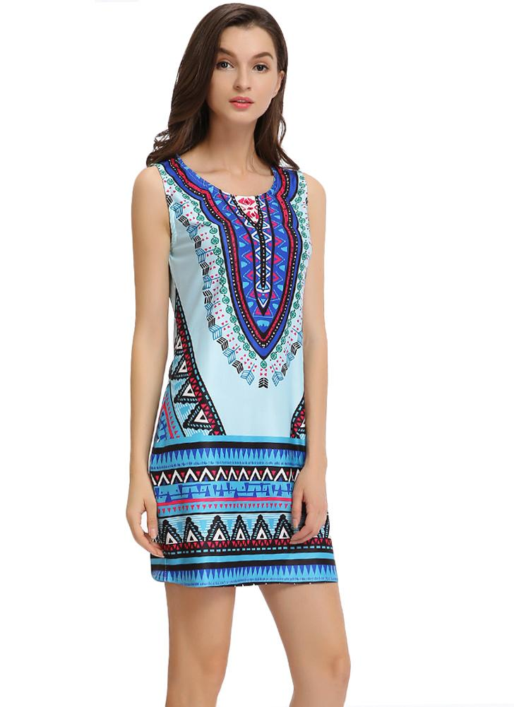 Geometric Print Scoop Short Summer Dress