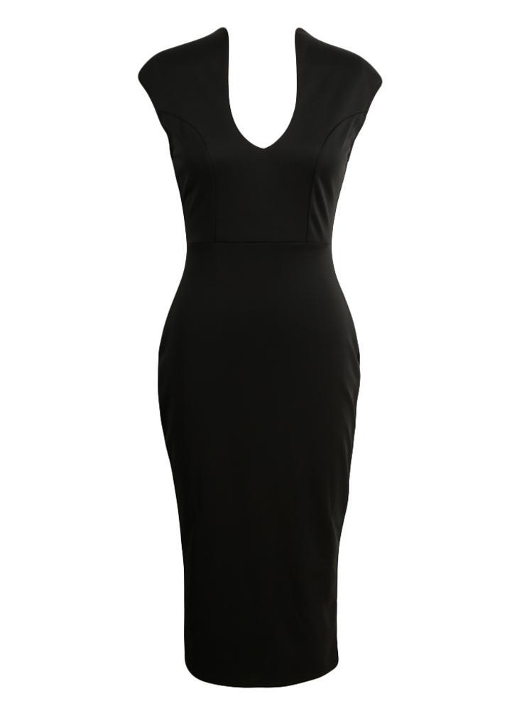 Solid Color Deep V-Neck Bodycon Dress