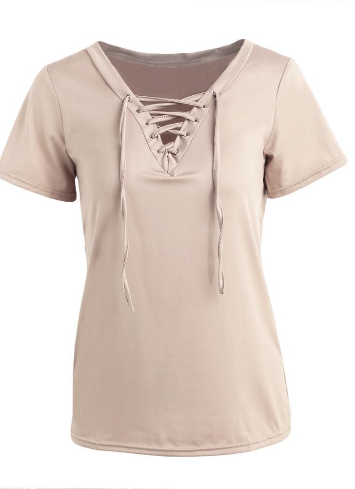 Mujeres Nueva camiseta atractiva lazada frontal con cuello en V manga corta  ocasional ahueca hacia fuera 821ab415c947e