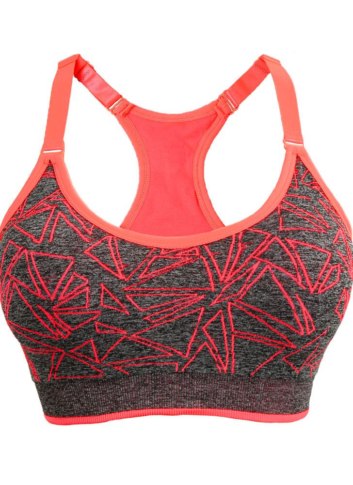 Neuer Frauen-Sport-BH Geometric Print Drahtlose schulterfrei Padded Vollschalen-Push-Up Yoga Fitness Tank Top