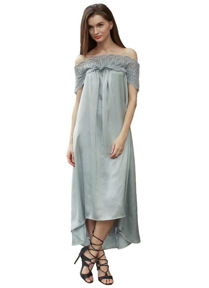 grau l Neue Art und Weise Frauen Midi-Kleid weg von der Schulter ...