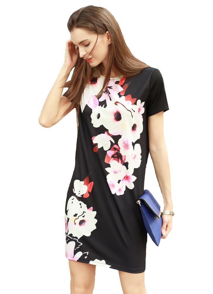 La nuova annata delle donne del mini vestito stampa floreale manica corta O  collo casuale Retro 227f6deadc7