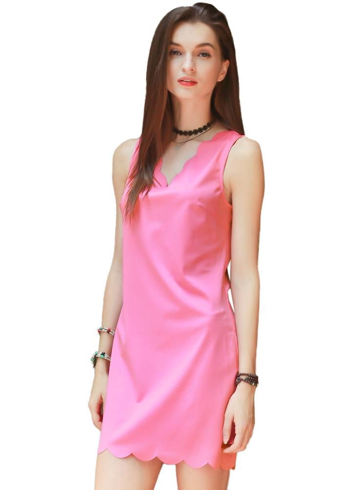 V Neck Scalloped Edge Mini Shift Dress