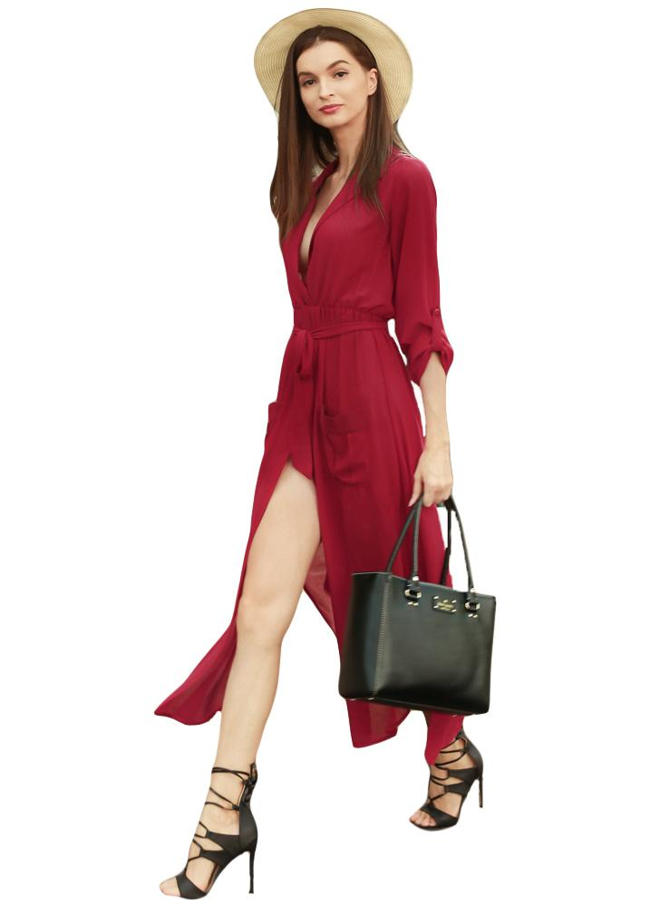 High Split V-neck Long Sleeves Pockets Maxi Dress