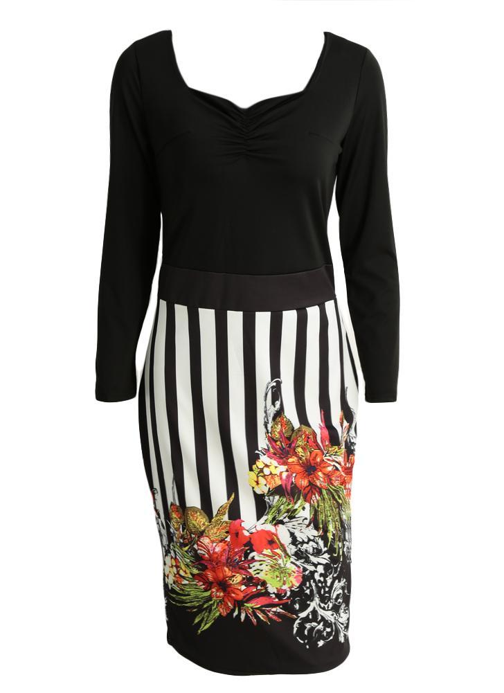 schwarz xl Neue Frauen-Midi-Kleid mit Blumenmuster-Streifen mit ...