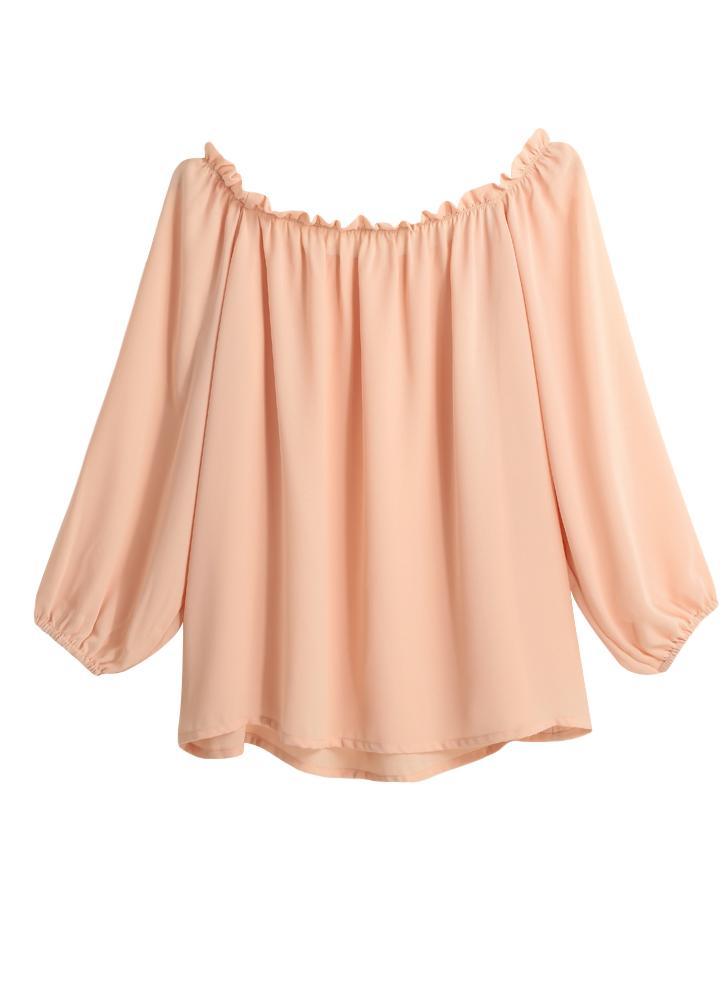 Las nuevas mujeres de la gasa de la camiseta de la raya vertical del volante del cuello de las colmenas de la linterna de la manga Hombro Casual Top Rosa