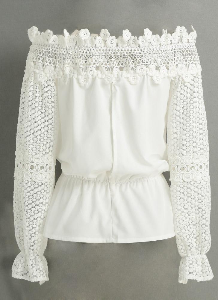 Neue Art und Weise Frauen-Bluse weg Schulter Häkelspitze Splice aushöhlen Flare lange Hülsen-elegantes Shirt T-Shirt Tops Weiß