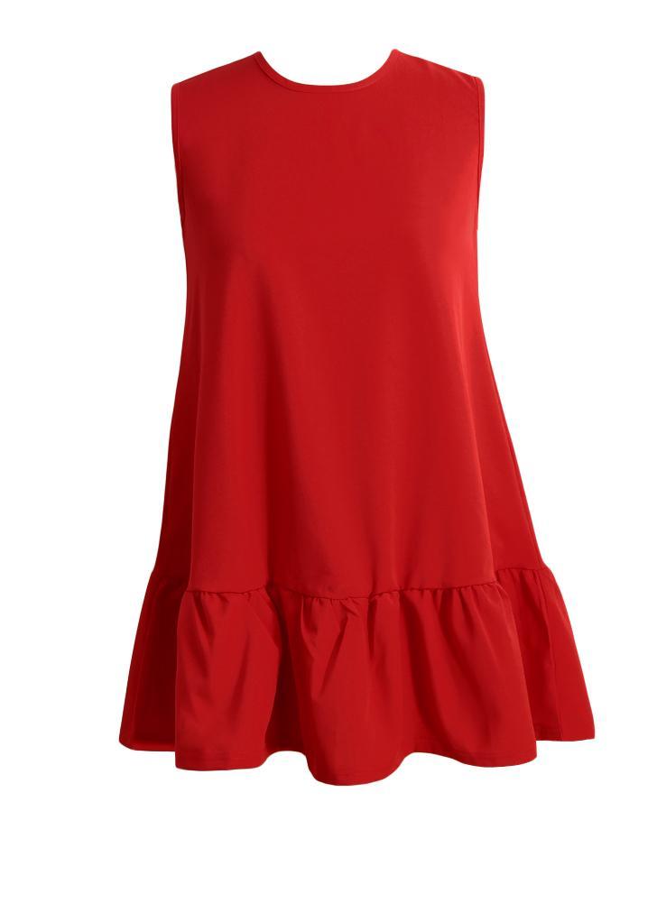 Ruffles Zipper Round Neck Big Swing Mini Dress
