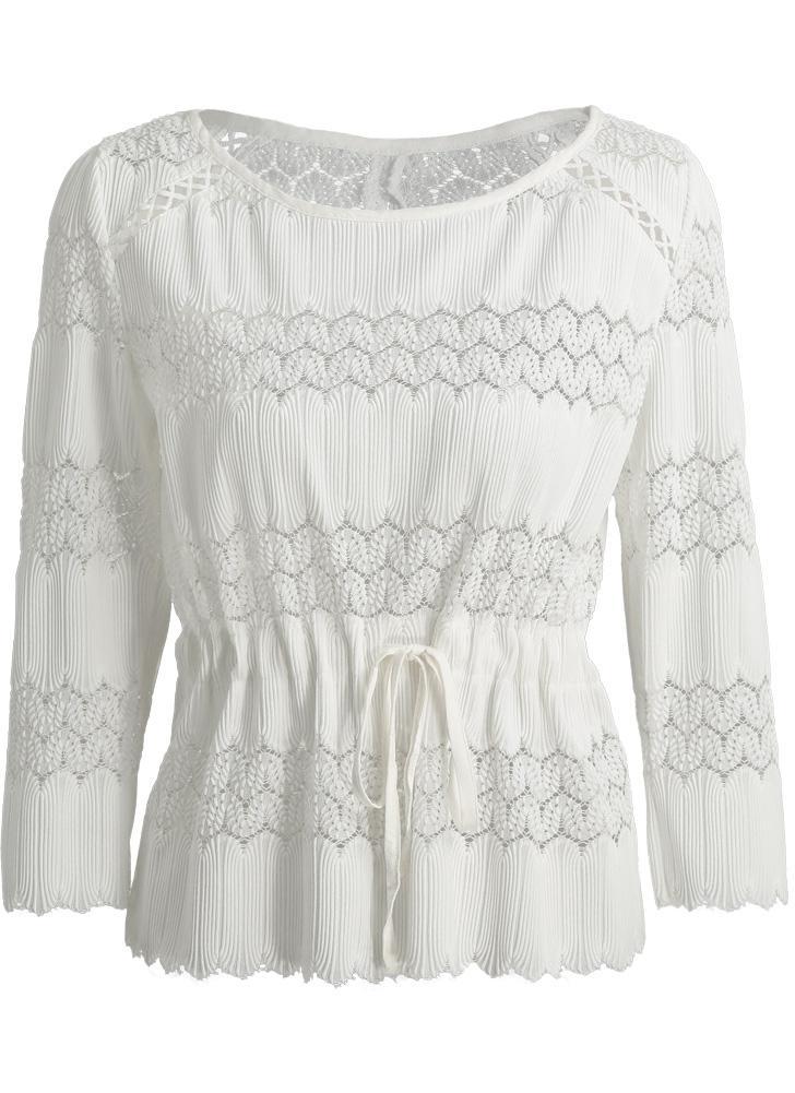 metro blanco Las nuevas mujeres blusa blanca de ganchillo de ...