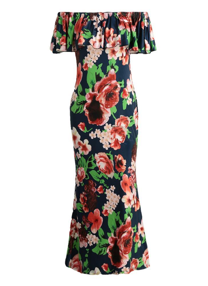 Maxi nuova delle donne sexy del vestito fuori dalla spalla Ruffle Stampa  aderente Bohemian Summer Holiday 015f8a0a62a