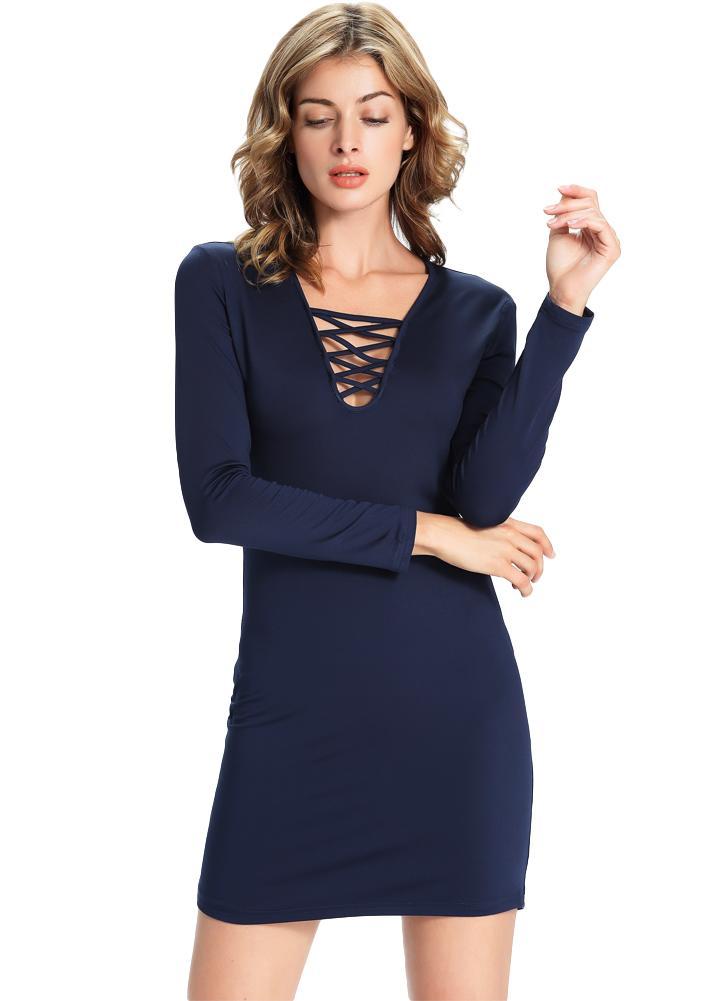 dc201f350145 New Sexy Frauen mit V-Ausschnitt, figurbetontes Kleid  Langarm-Ausschnitt-Kreuz vorne Minikleid Dunkelblau