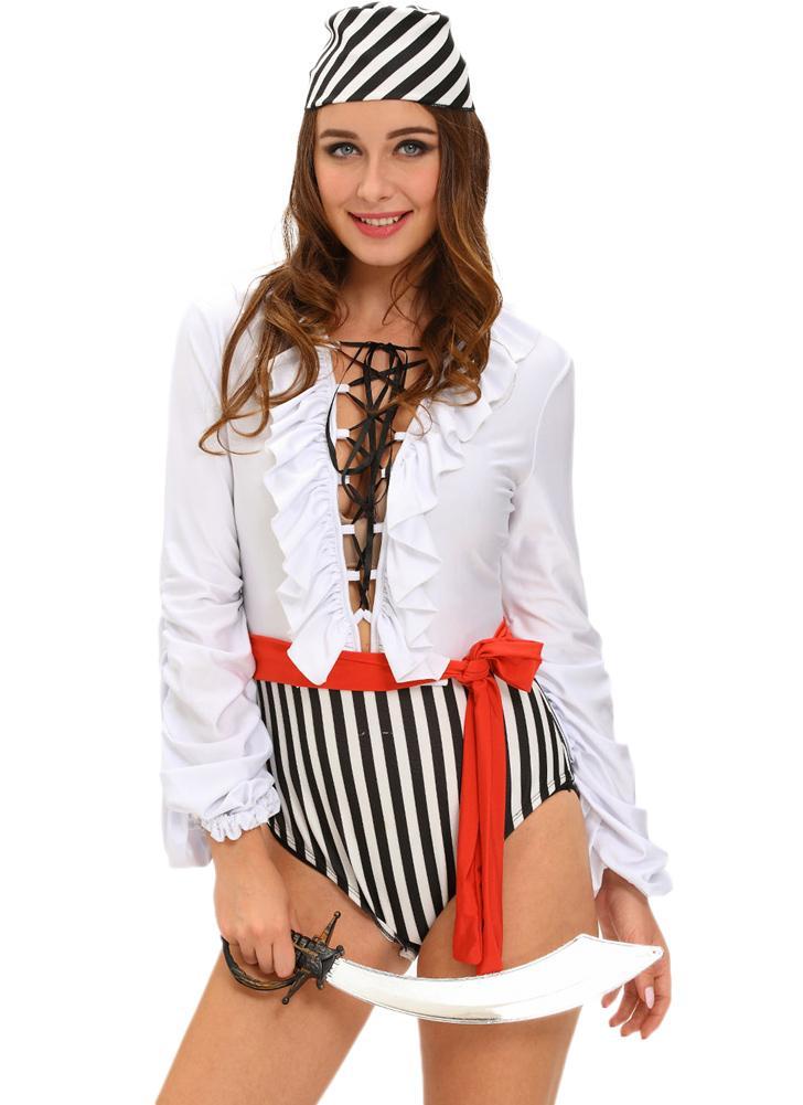 Traje do pirata New Mulheres Halloween impertinente Mergulhando V-neck Ruffles Lace-Up Fluir mangas Três peças de Branco