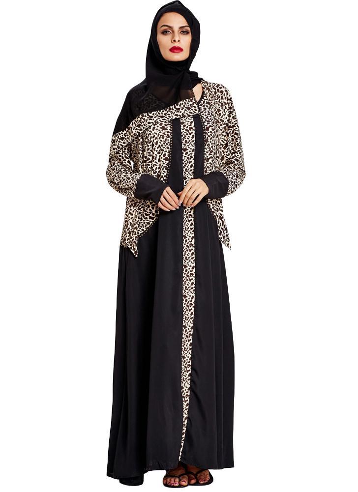 l Anself Frauen Muslim Kleid Leopard Abaya Jilbab Robe ...