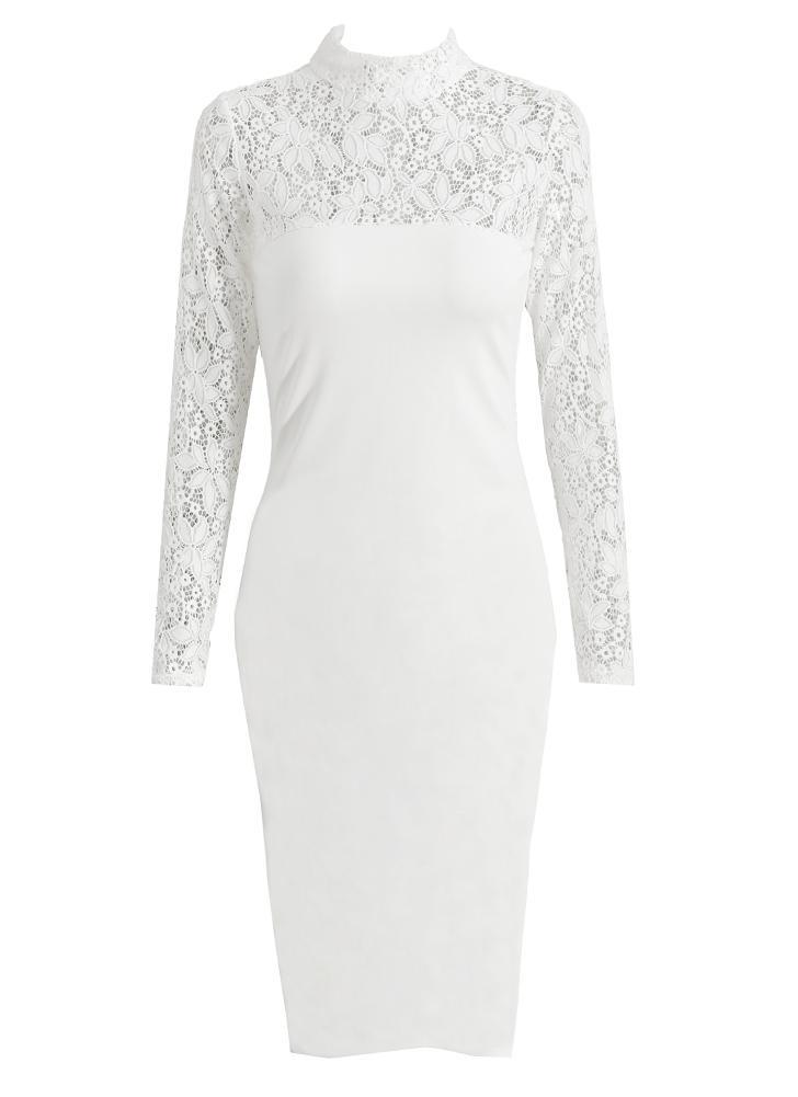 weiß s Sexy Frauen Bodycon Midi-Kleid mit Blumenspitze-Ausschnitt ...