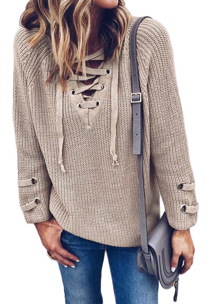 Suéter tejido cruzado del cuello de las vendas cruzadas del cuello de V de las mujeres