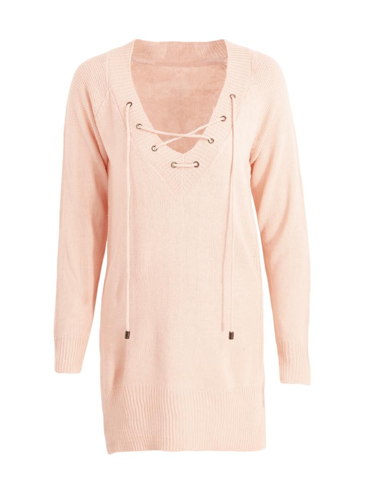 Lace Up V Neck Split Long Sleeve Knitted Pullover Loose Sweater