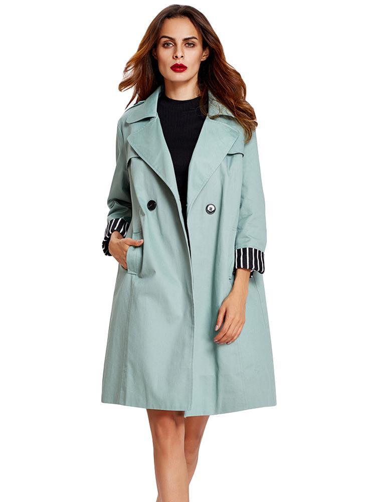 manches Manteau vert Trench Midi Femmes longues Hiver New s poches 8wOZ4q