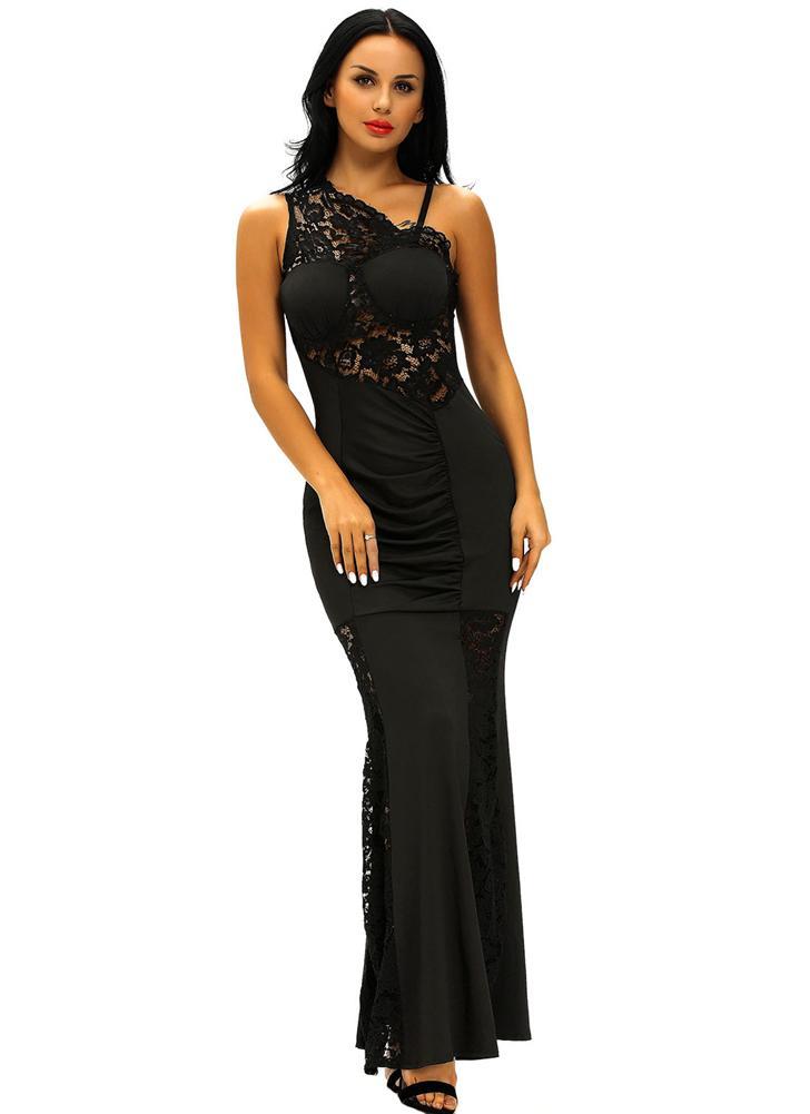 Il vestito sexy delle donne da sera abito in pizzo Inserire una spalla  increspato lungo anteriore 12d9dc4a9f1