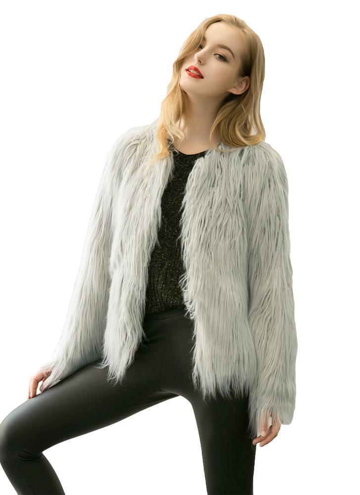 Neue Winter Frauen Faux Pelz Mantel vorne offen Langarm Fluffy wärmen Oberbekleidung Jacke Short Overcoat