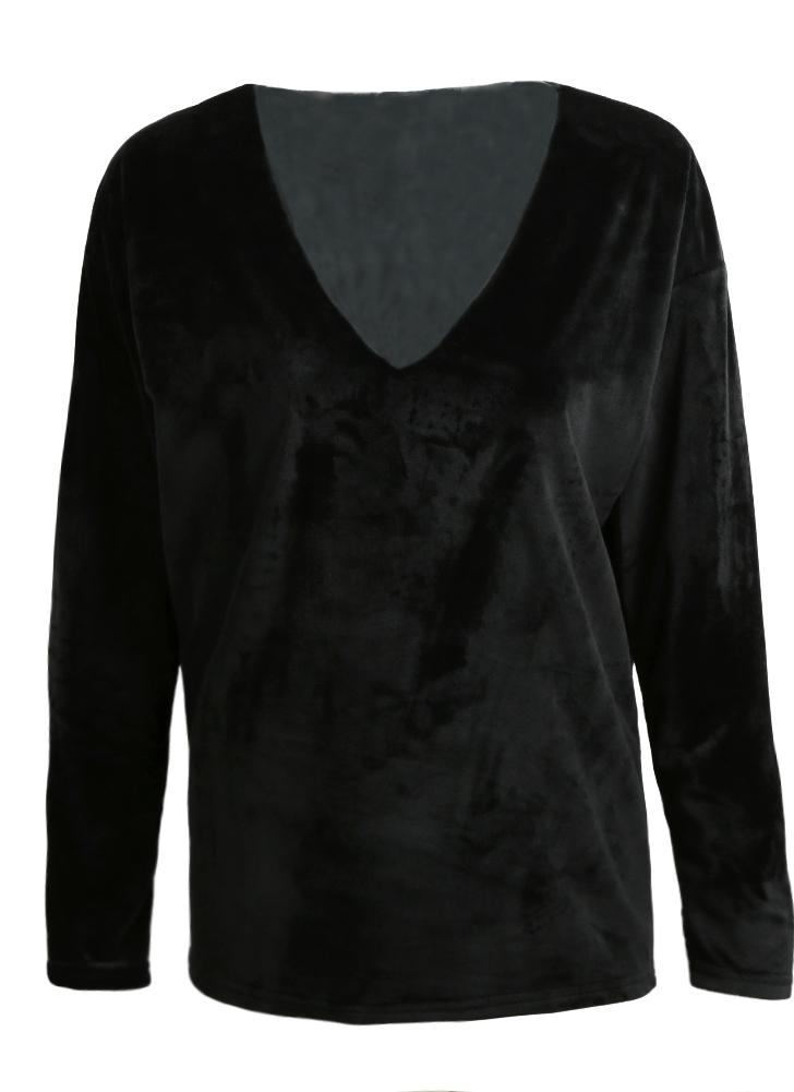Black m casual velvet v neck long sleeve solid color t for Plain colored v neck t shirts