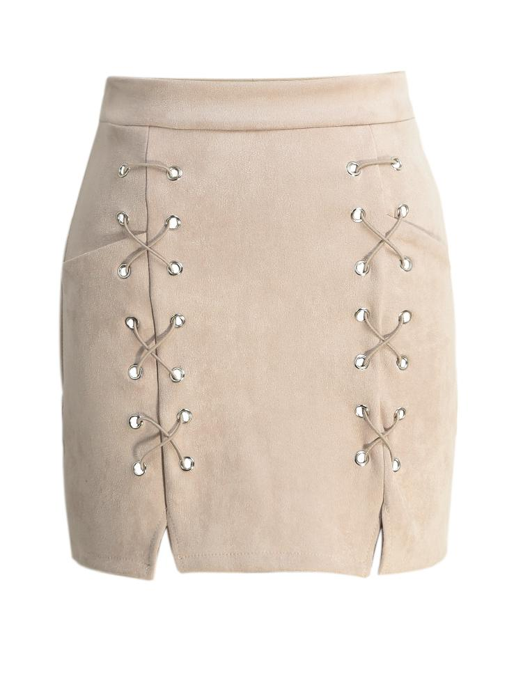 Outono feminino bordado Suede Leather Pencil Skirt Mid cintura Zipper Dividir Bodycon Short Skirt Preto / Bege / Verde